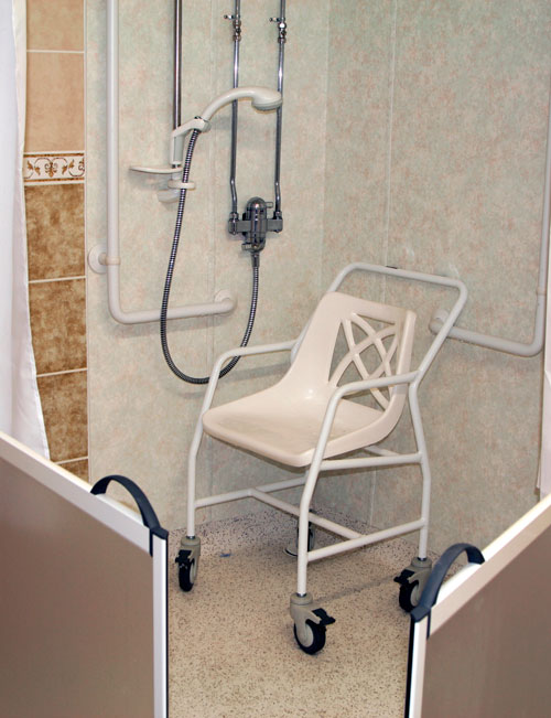 image of a rolling shower chair